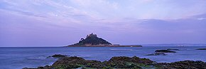moon above st michael's mount