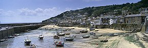 mousehole harbour in sunlight