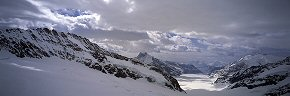 aletsch glacier and cloud