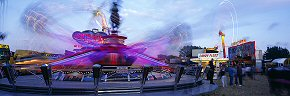 swirling rides at the hoppings fair