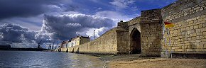 sunshine and rain, town wall, hartlepool