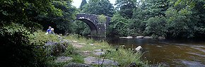 bridge at dartsmeet, river dart
