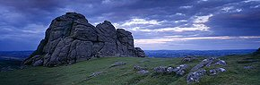 dusk at haytor rocks, dartmoor