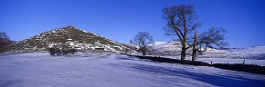 thorpe cloud in snow, derbyshire