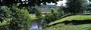 chatsworth house and river derwent