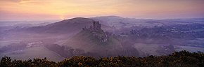 misty dawn, corfe castle